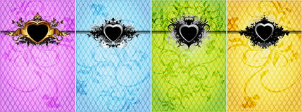Set of backgrounds for valentines day. Set of four backgrounds of different colors with decorative hearts Royalty Free Stock Photo