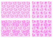 Set backgrounds Valentines Day. Hearts and gifts on pink background Stock Photos