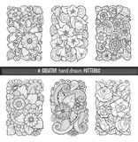 Set of backgrounds in vector with doodles, flowers and paisley. For wallpaper, pattern fills, coloring books. Black and white. Royalty Free Stock Image