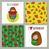 Set of backgrounds watermelon and sweet girls. Royalty Free Stock Photos