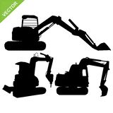 Backhoe silhouette vector Royalty Free Stock Photography