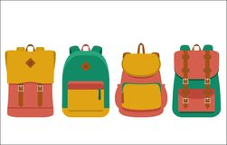 Set of backpack/ flat icons Royalty Free Stock Photography