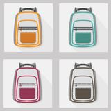 Set of backpack icons, backgrounds, and seamless pattern Stock Images