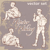 Set backpackers na rocznika tle Obrazy Stock