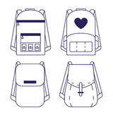 Set of backpacks. A set of backpacks in a minimalistic linear style stock illustration