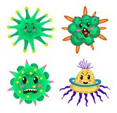 Set of bacteria characters. Cartoon Cute germ virus funny infection. Funny bad emotions micro Microbe. Color Monster. Pathogen or parasite royalty free illustration