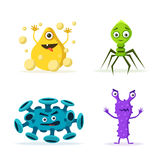 Set of bacteria characters. Cartoon vector illustration. Microbiology Stock Photo
