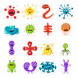 Set of bacteria characters. Cartoon vector illustration. Microbiology Royalty Free Stock Photography