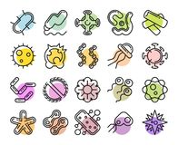 Set of bacteria and virus icon Stock Photos