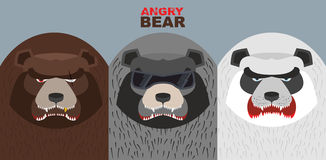 Set bad bears. Wild angry animals. Villains. Vector illustration Stock Images