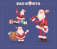 Set of the bad Santa. Christmas greeting card Stock Photos