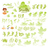 Set with bad smells. Art on white background. Vector. Flat. Green Stock Photo