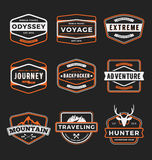 Set of badge logo outdoor adventure. And traveling gear for emblem logo, label design. Vector illustration vector illustration