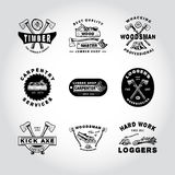 SET OF BADGE LUMBER, WOODWORKING, TOOL. Handmade axe, plane, tree, stump, hacksaw retro style. Design fashion apparel texture print. T shirt graphic vintage Royalty Free Stock Photography