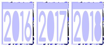 Set of badge with years 2016 2017 2018. Three colorful badges with years 2016, 2017, 2018. An elegant idea for projects about these three years stock illustration