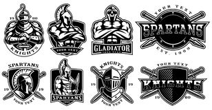 Set of badges with ancient warriors for white background. Set of logos, badges with knights, gladiators, spartan warriors. Logo design for fight clubs, fitness Royalty Free Stock Photo