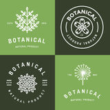 Set of badges, banner, labels and logos for botanical natural product, shop. Leaf logo, flower logo. Linear outline stroke design. Stock Image