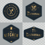Set of badges, banner, labels and logos for food restaurant, foods shop and catering in golden color with seamless pattern. Stock Photos