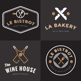 Set of badges, banner, labels and logos for french food restaurant, foods shop, bakery, wine and catering. Design Elements. royalty free illustration