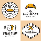 Set of badges, banner, labels, logos, icons, objects and elements for bakery shop bread, croissant, baguette. Stock Images