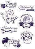 Set of badges for beauty and hairdressing salons Royalty Free Stock Images