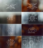 Set of badges with blurred backgrounds Royalty Free Stock Photo