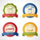 Set of badges with burger, hot dog, french-fry and Stock Images