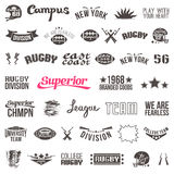 Set of badges college rugby team Stock Photos
