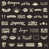 Set of badges college rugby team Royalty Free Stock Photo