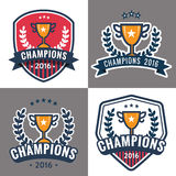 Set of badges, emblem and logos for Champion sports league with trophy. Royalty Free Stock Photo