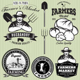 Set badges with the farmer and vegetables for the farmers shop Stock Image