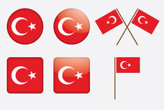 Set of badges with flag of Turkey Stock Photo