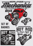 Set of  badges with Hot Rod. Set of retro badges with Hot Rod Royalty Free Stock Photos