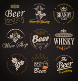 Set of badges and labels elements for alcohol. stock illustration