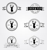Set of badges labels hipster logo. Vector illustration deer head. Collection retro vintage emblem templates. Hand crafted drawn graphics for logotypes and Royalty Free Stock Photography