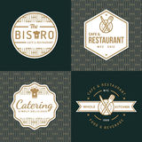 Set of badges, labels and logos for food restaurant, foods shop and catering with pattern. Stock Image