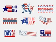 Independence day labels and stamps. Set of badges and labels and stamps, independence day stock illustration