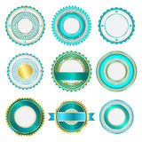 Set of badges, labels and stickers without text in turquoise Royalty Free Stock Photography