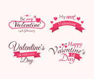 """Set of badges and labels with title """"Happy Valentine's day"""", """"Be my Valentine"""" and """"My sweet Valentine"""". Set of badges Royalty Free Stock Photos"""
