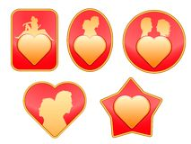 Set of badges on love. Stock Photos