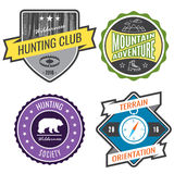 Set badges mountain expeditions and hunting emblem logo Stock Photo