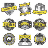 Set badges mountain expeditions and hunting emblem logo Royalty Free Stock Photography