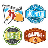 Set badges mountain expeditions and logo emblem adventure outdoors Royalty Free Stock Image