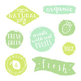 Set of badges for packaging design. Natural, fresh, green, organic. Stock Images