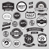 Set of vintage style badges and ribbons stock illustration