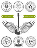 Set Badges of Rock music. Set of logos rock music and recording studios. Music design elements with font type and illustration . Vintage label Rock Beast &#x28 Royalty Free Stock Image