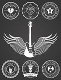 Set Badges of rock music and rock and roll. Set of logos rock music and recording studios. Music design elements with font type and illustration . Vintage label Stock Image