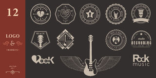 Set Badges of rock music and rock and roll Royalty Free Stock Images