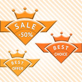 Set of badges: sale, best choice, best offer. Vector illustration Royalty Free Stock Photo