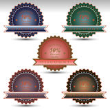 set of badges for sale special offer.Discount premium quality Stock Photo